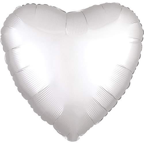amscan 3859001 Folienballon Standard Satin Luxe White Herz, Weiß
