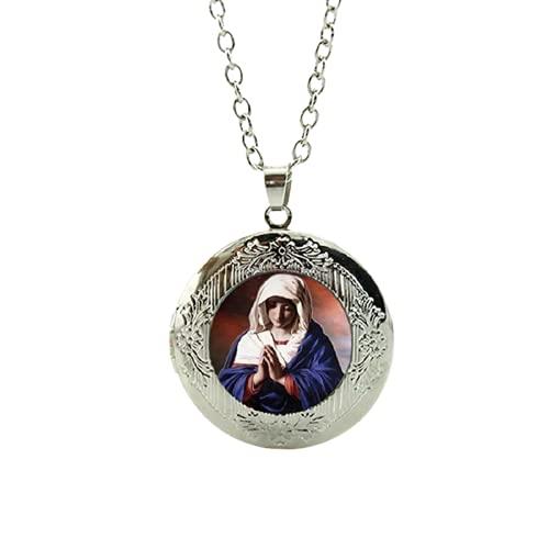 Nuestra Señora de Guadalupe Collar con medallón de cristal católico religioso de la Virgen María, accesorio de regalo para hombres