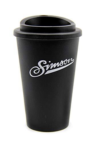 Simson Thermobecher, Trinkbecher mit Schraubverschluss, Schwarz, 350 ml Fassungsvermögen, BPA-frei + BISOMO-Sticker