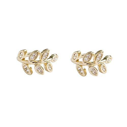 Oreja manguito oro hojas no perforantes oreja Clips falsos pendientes de cartílago pendientes para mujeres hombres Crystal Ear Clips