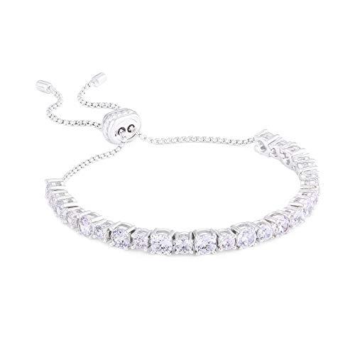 KRKC&CO Women's Tennis Bracelets, Prong-Setting 5A Cubic Zirconia Stones, Adjustable Clasp, 14k Gold Iced Out Tennis Bracelets