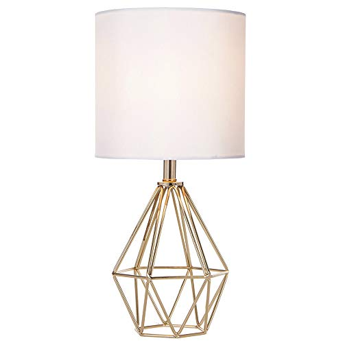 COTULIN Gold Modern Hollow Out Base Living Room Bedroom Small Table Lamp,Bedside Lamp with Metal Base and White Fabric Shade