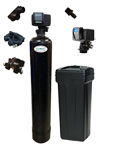 Iron Pro 48K Combination Water Softener & Iron Filter with Fleck 5600SXT Digital Metered Valve - Treat Whole House up to (1' Bypass 48,000 Grains, Black)