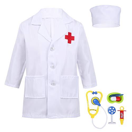 iEFiEL Arztkittel Laborkittel für Kinder Arzt-Set Spielzeug Zubehör Rollenspiel Kostüm Mädchen Jungen Karneval Weinachten Halloween Verkleidung Weiß 110-116