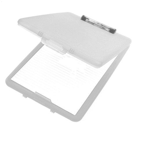 A4 Plastic Compact Clipboard Paper Storage Box File Clear 33.5cm x 24cm