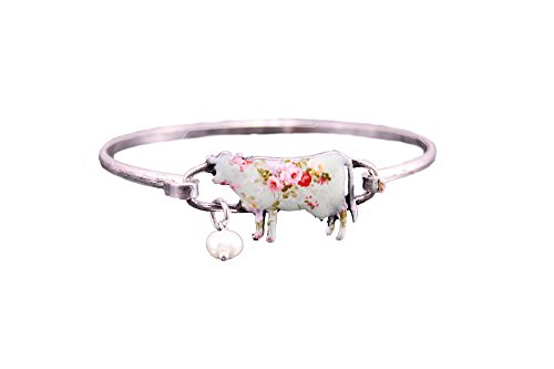 Wonderent Floral Cow Shape Wire Bracelet with Peal Bead (Burnish Silver)