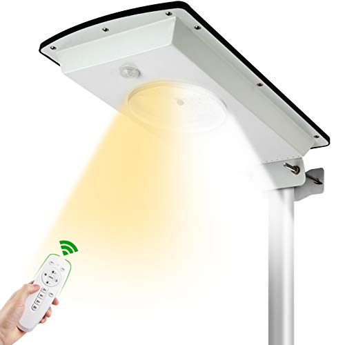 UPONUN Solar Street Lights Outdoor Dusk to Dawn with Remote Control/Motion Sensor All in One Dual Color Switchable Waterproof IP65 Solar Street Light for Parking Lot Pathway Garden Driveway