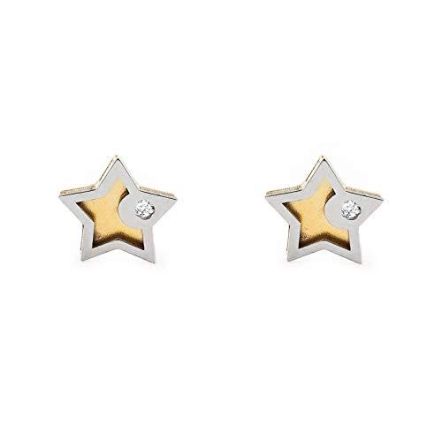 Pendientes Oro Bebe o Niña estrella bicolor con circon (9kts)
