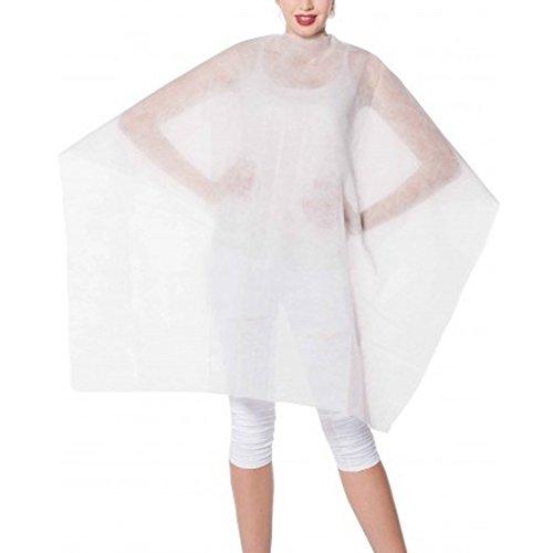 MANTELLA TAGLIO TNT bianca con velcro MONOUSO parrucchiere usa e getta - cartone 100 pz confezionate singolarmente
