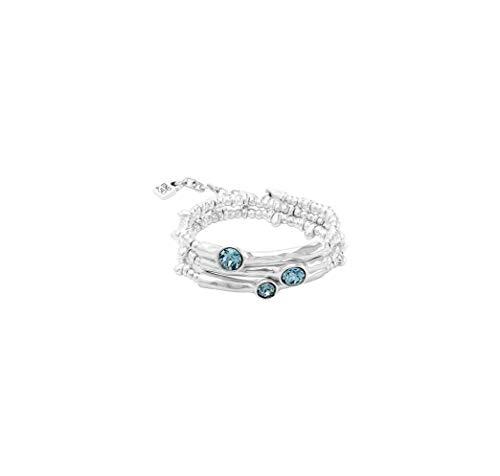 Pulsera de Tres vueltas bañada en Plata compuesta por múltiples piezas y Que incluye cristales cristales Swarovski Azules Indian safire.