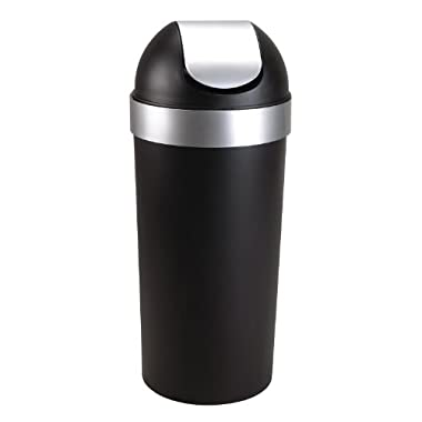 Umbra Venti 16-Gallon Swing Top Kitchen Trash Can – Large, 35-inch Tall Garbage Can for Indoor, Outdoor or Commercial Use, Black/Nickel