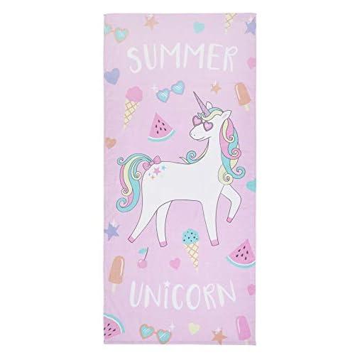 Catherine Lansfield - Telo mare con unicorno, 76 x 160 cm