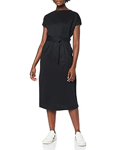 Marca Amazon - MERAKI Vestido Largo Cruzado Mujer, Negro (Black), 36, Label: XS