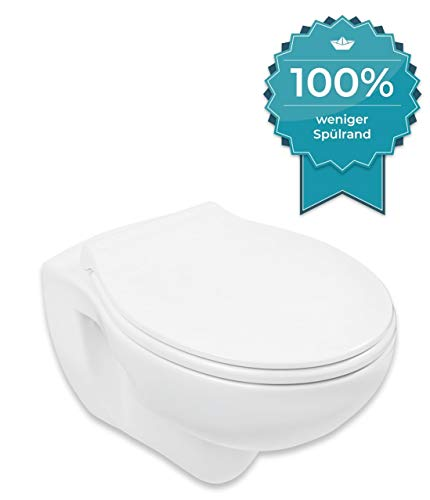 Calmwaters® spülrandloses Hänge-WC Set mit WC-Sitz mit Absenkautomatik, Standardanschluss für Vorwandelemente, Tiefspüler, Weiß, Deckel abnehmbar, Metallscharnier, Fast-Fix Befestigung, 08AB3131