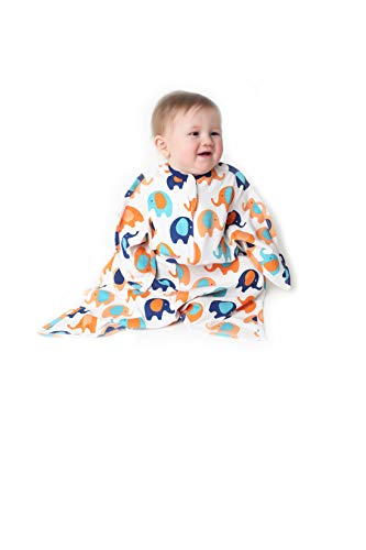 SleepingBaby Cotton/Cotton Blend Zipadee-Zip Swaddle Transition Baby Swaddle Blanket with Zipper, Cozy Baby Sleep Sack Wrap (Small 4-8 Months | 12-19 lbs, 25-29 inches | Blue & Orange Elephants)