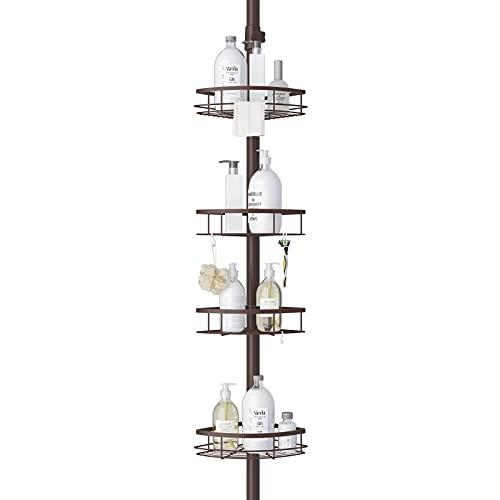 Shower Caddy, LIBZAKI Shower Corner Tension Pole Caddy, Rustproof 304 Stainless Steel Shower Organizer, Bathtub Storage Organizer for Organizing Hand Soap, Body Wash, 3.7 to 9ft Height(Oil Bronze)