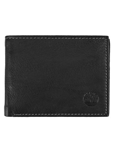 Timberland Men's Wellington Leather RFID Bifold Commuter Security Wallet, Black, One Size