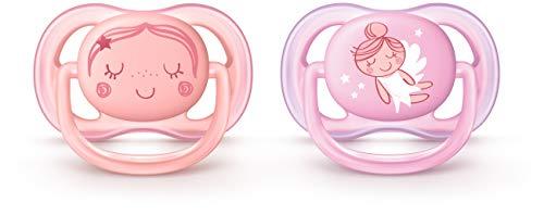 Philips Avent Ultra Air Chupete de 0 a 6 meses, contemporáneo decos, rosa/melocotón, paquete de 2, SCF345/20