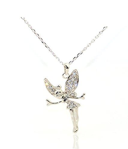 Tinkerbell-Halskettenanhänger, mit Platin beschichtet, mit Kristallen