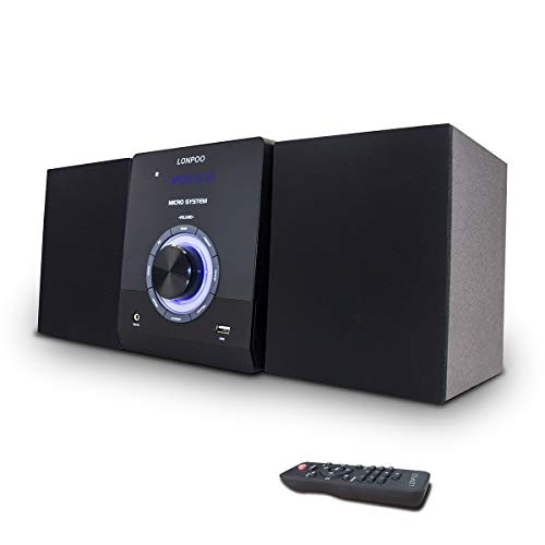 LONPOO Microcadena Hi-Fi 30W con Radio, Sistema Micro CD