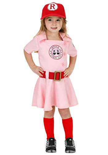 A League of Their Own Toddler Dottie Baseball Costume 4T Light Pink