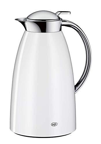 alfi Thermoskanne Gusto, Edelstahl weiß 1L, alfiDur Glaseinsatz, auslaufsicher, Isolierkanne hält 12 Stunden heiß, 3561.211.100 ideal als Kaffeekanne oder als Teekanne, Kanne für 8 Tassen