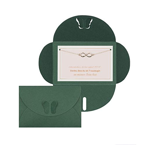 Lillyville - zus geschenk met armband en kaart - zus hart, du bist einfach Wow - Trauzeugin armband Umschlag: Dunkelgrün Infinity: roségoud.