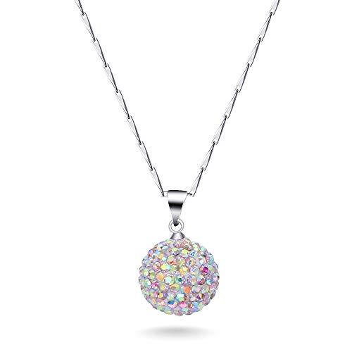 collar Collar De Cadena De Color De Plata Esterlina 925 Con Colgante De Encanto De Cristal Encantador De Moda Para Mujer
