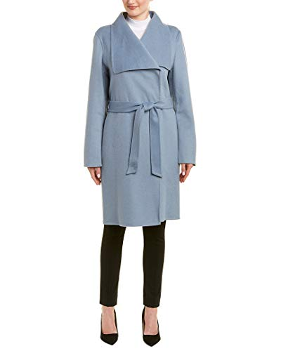 Price comparison product image Tahari Ellie Women's Handmade Double Face Warm Wool Wrap Coat Blue Size M