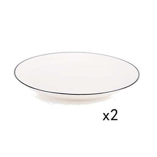 XIUXIU Ménage Simple Couleur Unie Côté Noir De Haute Qualité En Céramique Steak Occidental Plat Pâtes Nouilles Curry Plat [2 Pack] (Taille : 20x2.6cm)