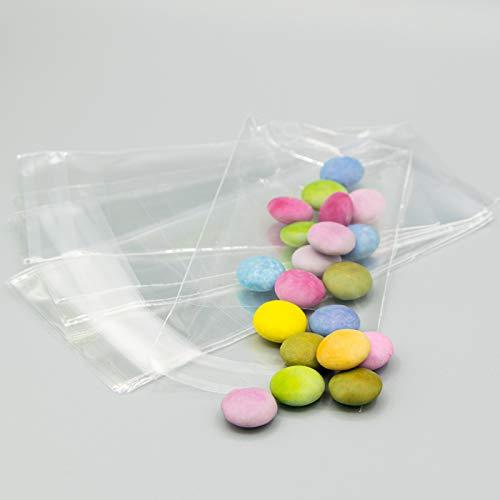Palucart 8x10+3cm 200pz Sacchetti Bustine in Cellophane con Aletta Adesiva Sacchettini Plastica Trasparenti per Bomboniera Confetti Gioielli
