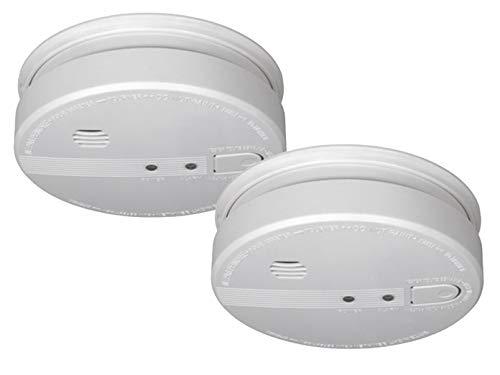 Set van 2 koppelbare rookmelders met 230 V aansluiting + reservebatterij, alarmsignaal 85 dB.