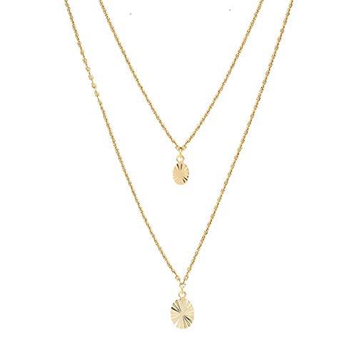 Les Dissonances Multi Row Sun Medal Necklace (Gold)