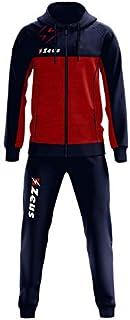 Zeus Tuta Olympia Donna Uomo Relax Passeggio Cappuccio Zip Intera Tasche Laterali Nuovo Modello (S, Rosso-Blu)