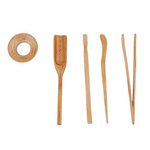 Gongfu Tee Set Tee-Clip Tee-Nadel, Tee-Clip, Tee-Schaufel Tee-Lecks Bambus Fünf-teiliger Anzug Tee Zubehör