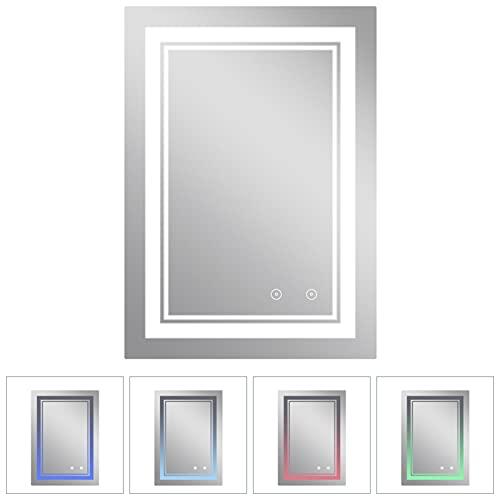 Espejo de baño con iluminación,60 x 80 cm, regulable, espejo de baño LED, espejo de baño con iluminación, 3000-6500 K, espejo de baño LED con interruptor táctil