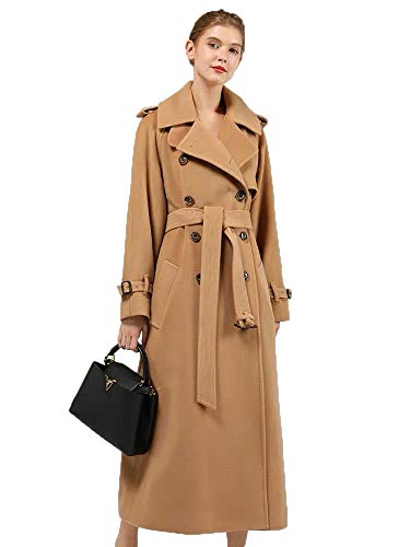 JameStyle26 Damen Wollmantel Wintermantel mit 80% Wolle Casual-Look Trenchcoat Lang Parka (L, Camel)