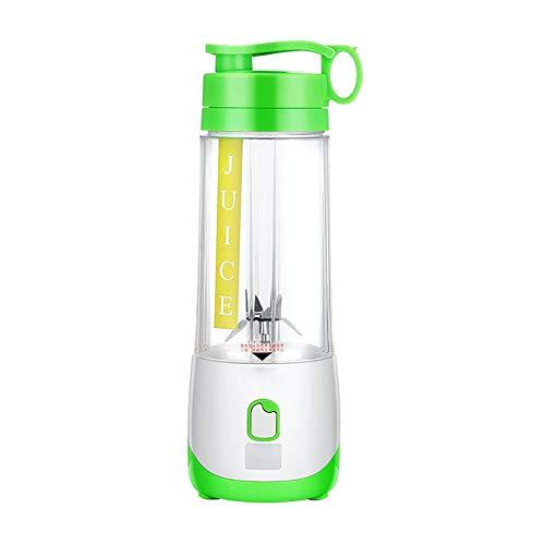 XUE-BAI 400ML Mini Batidora Portátil, Licuadora para Fruta,Recargable Juice Blender con USB,Cortador de 4 hojas,Jugo Mascarilla, Aire Libre Deportes/Green