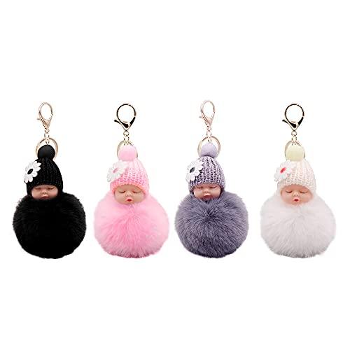 Schlüsselanhänger Bommel Select Zone 4 pcs Schlafende Babypuppe Keychain Plüsch Schlüsselanhänger Mini Baby Puppe Keychain   Handtasche Anhänger   Flauschige Schlüsselanhänger   Auto Schlüsselanhänger