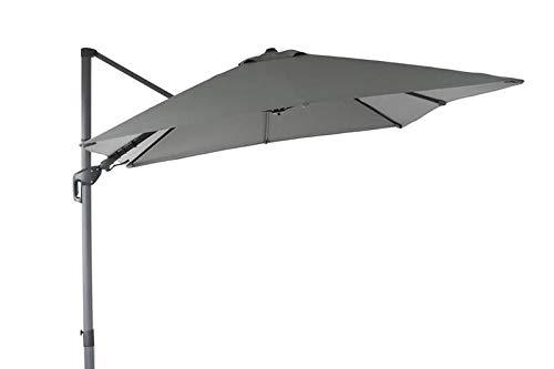 OUTFLEXX Ampelschirm, anthrazit, pulverbesch. Aluminium, 300x300 cm, inkl. Plattenständer, Twist-Funktion