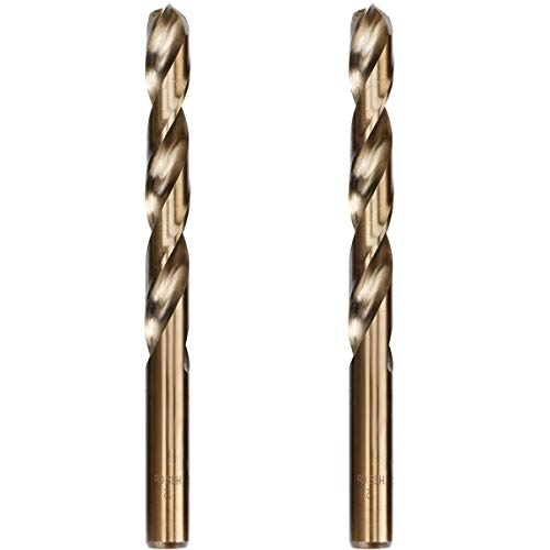 Hymnorq 12mm Metric Twist Drill Bit Set of 2pcs - Jobber Length Fully Ground Straight Shank – 5% Cobalt M35 Grade HSS-CO, Extremely Heat Resistant - Suitable for Stainless Steel Cast Iron