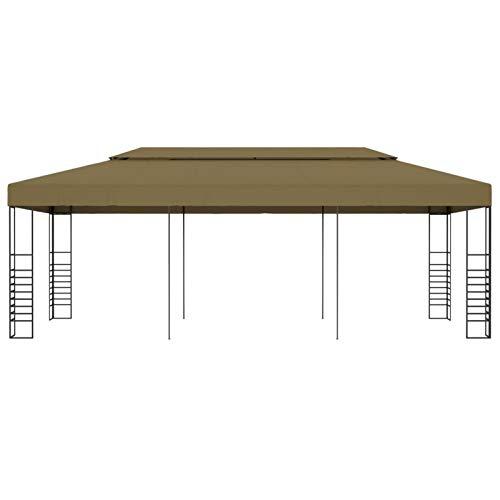 Kshzmoto Pabellón al Aire Libre con Estructura de Acero, Material de Fibra de poliéster pabellón de Estilo Moderno práctico pabellón de reunión pabellón de jardín 6 x 3 x 2,7 m-Taupe
