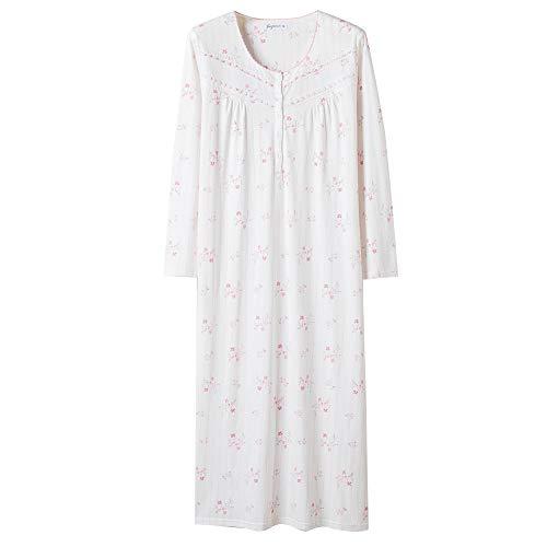 Keyocean Women Nightgowns Plus Size, 100% Cotton Long Sleeve Long Women Sleepwear Nightdress, Pink Floral, X-Large
