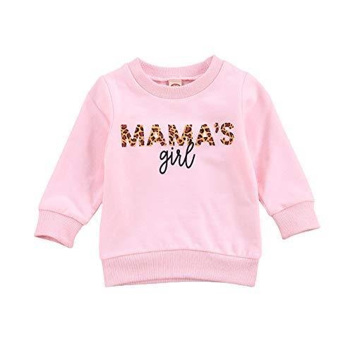WangsCanis Kleinkind Baby Mädchen Jungen Mamas Mädchen Brief Gedruckt Langarm Sweatshirt Lässige Pullover Bluse Tops 0-6 Jahre Kleidung (Mama's Girl Rosa, 2-3 Jahre)