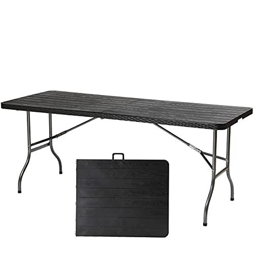 Sekey Campingtisch Klapptisch Klappbar 180 cm, Buffettisch Gartentisch mit Tragegriff für Garten Terrasse, Rattan & Holzmaserung, Schwarz