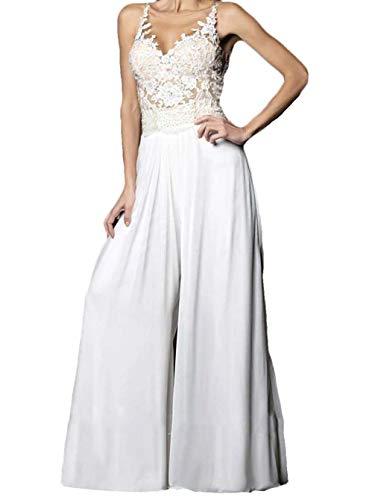 The Peachess Jumpsuits Hochzeitskleider V-Ausschnitt Chiffon ärmellos Vintage Applikationen Brautkleid - Weiß - 40