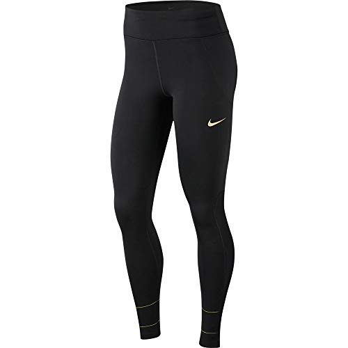 Nike Damen W NK Fast TGHT Glam Dunk Sport Trousers, Black/Metallic Gold, XS