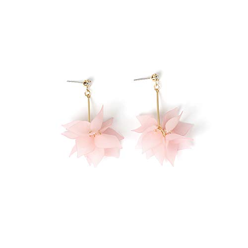 Pendientes largos de linterna de flores de acrílico Pendientes hechos a mano de joyería dulce y fresca por La Bella y la Bestia Rosa