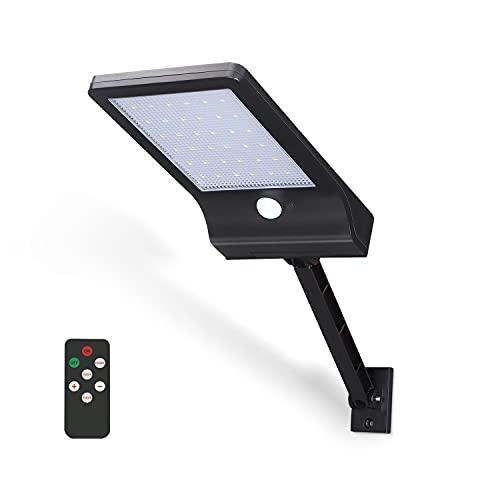Aigostar - Luz solar exterior con sensor de movimiento y mando a distancia, luz fría y cálida. Farola LED de pared, detección movimiento hasta 7m, regulable 180º, IP65. Luz de seguridad para exterior