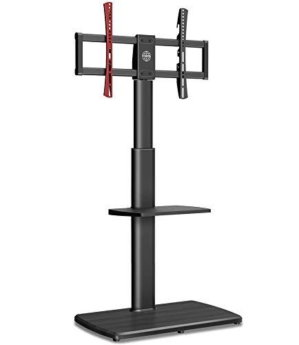 FITUEYES Soporte de TV alto para TV de hasta 65 pulgadas, soporte giratorio voladizo para TV con base de madera y estante ajustable en altura, fácil montaje para 40 kg